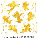gold cupids silhouette set....   Shutterstock .eps vector #551223307