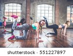 group of sportive people... | Shutterstock . vector #551227897