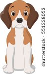 Cartoon Happy Beagle Dog Sitting