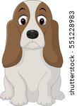 Cartoon Happy Basset Hound Dog...