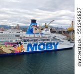 Small photo of GENOA.ITALY-APR.2016:Ferries Moby cruise in the port of Genoa