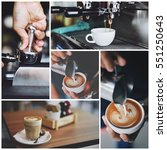 lot of coffee collage in... | Shutterstock . vector #551250643