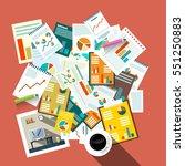 flat design top view paperwork... | Shutterstock .eps vector #551250883