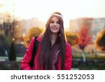 female runner. stylish girl... | Shutterstock . vector #551252053