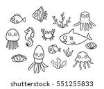funny cartoon fish  crab ... | Shutterstock .eps vector #551255833