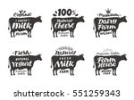 cow. vector set food labels ... | Shutterstock .eps vector #551259343