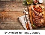 succulent grilled tomahawk beef ... | Shutterstock . vector #551260897