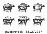 cow. vector set food labels ... | Shutterstock .eps vector #551272387