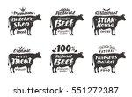 cow. vector set food labels ... | Shutterstock .eps vector #551272387