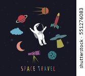 space travel.funny astronaut... | Shutterstock .eps vector #551276083