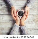 hot coffee in the hands of a...   Shutterstock . vector #551276647
