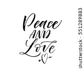 peace and love postcard. phrase ... | Shutterstock .eps vector #551289883