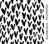 Seamless pattern with hearts. Ornament for Valentine's day. Ink illustration. Isolated on white background. Brush strokes.