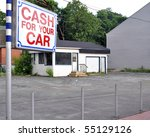Vacant used car lot - gone out of business - stock photo