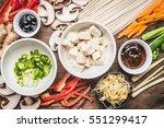 top view of asian vegetarian... | Shutterstock . vector #551299417