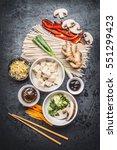 various asian vegetarian... | Shutterstock . vector #551299423