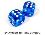 two blue dice isolated over a... | Shutterstock . vector #551299897