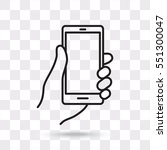 line icon  mobile phone in hand | Shutterstock .eps vector #551300047