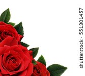 Stock photo red rose flowers corner isolated on white background 551301457