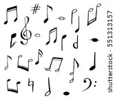 music notes and signs set. hand ... | Shutterstock .eps vector #551313157