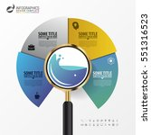 infographic with a magnifying... | Shutterstock .eps vector #551316523