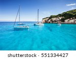sailboats in a beautiful bay ... | Shutterstock . vector #551334427