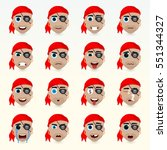 set of cute pirate emoticons.... | Shutterstock .eps vector #551344327
