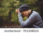 portrait of sad  depressed... | Shutterstock . vector #551348023