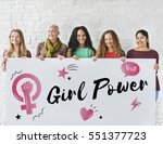 women girl power feminism equal ... | Shutterstock . vector #551377723