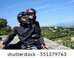 happy young biker couple riding ...   Shutterstock . vector #551379763