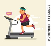 fat man running on a treadmill. ... | Shutterstock .eps vector #551420173