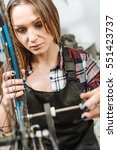 involved young craftswoman... | Shutterstock . vector #551423737