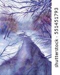 watercolor painting of winter... | Shutterstock . vector #551451793