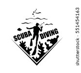 scuba diving icon with corals ... | Shutterstock .eps vector #551454163