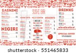 sushi menu flyer layout... | Shutterstock .eps vector #551465833