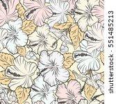 of tropical hibiscus flowers in ... | Shutterstock . vector #551485213