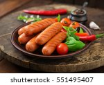 grilled sausages and vegetables ... | Shutterstock . vector #551495407