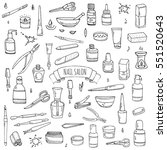 hand drawn doodle nail salon... | Shutterstock .eps vector #551520643