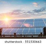 solar panels against a dusk sky ...   Shutterstock . vector #551530663
