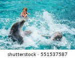 young girl swimming with... | Shutterstock . vector #551537587