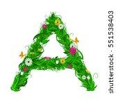 a green eco letter with leaves... | Shutterstock .eps vector #551538403