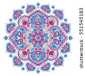 indian floral paisley medallion ... | Shutterstock .eps vector #551545183