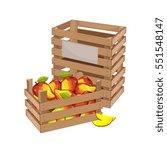 wooden box full of mango...   Shutterstock .eps vector #551548147