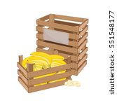 wooden box full of banana... | Shutterstock .eps vector #551548177
