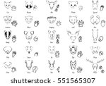 set of animals and trails with... | Shutterstock .eps vector #551565307