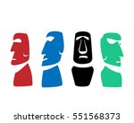 moai icons in silhouette style  ... | Shutterstock .eps vector #551568373