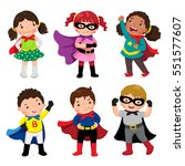 boys and girls in superhero... | Shutterstock .eps vector #551577607