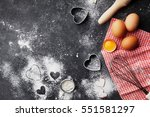 baking background with flour ... | Shutterstock . vector #551581297