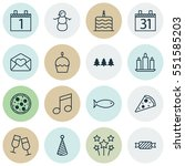 set of 16 christmas icons.... | Shutterstock .eps vector #551585203