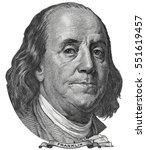 benjamin ben franklin face on... | Shutterstock . vector #551619457